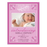 Charming Vintage Baby Birth Announcement (fuschia) Postcard