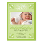 Charming Vintage Baby Birth Announcement (lime) Postcard