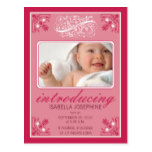Charming Vintage Baby Birth Announcement (magenta) Postcard