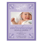 Charming Vintage Baby Birth Announcement (purple) Postcard