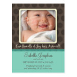 Chocolate Dots Baby Birth Announcement (aqua) Postcard