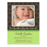 Chocolate Dots Baby Birth Announcement (lime) Postcard