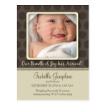 Chocolate Dots Baby Birth Announcement (sepia) Postcard