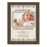 Classy Pinstripe Taupe Baby Announcement Postcard