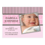 Damask & Stripes Pink Baby Birth Announcement Postcard