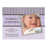 Damask & Stripes Purple Baby Birth Announcement Postcard