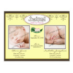 Darling Twin Girls Lemon Birth/Baby Announcement Postcard