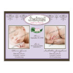 Darling Twin Girls Lilac Birth/Baby Announcement Postcard