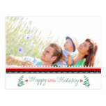 Family Photo Red Green Holly Happy little Holiday Postcard