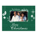 Green Chandelier Christmas Family  Photo Postcard