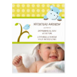Hippo and Birdie Baby Boy Birth Announcement Postcard