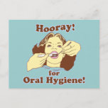 Hooray for Oral Hygiene Retro Postcard