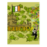 Lucky Leprechaun and His Irish Castle Postcard
