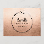Modern Branding Postcard in Rose Gold