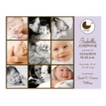 Photo Collage Lavender Baby Birth Announcement Postcard