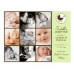 Photo Collage Lime Green Baby Birth Announcement Postcard