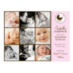 Photo Collage Pink Baby Birth Announcement Postcard