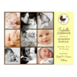 Photo Collage Yellow Baby Birth Announcement Postcard
