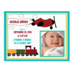 Planes and Trains Boy Birth Announcement (aqua) Postcard