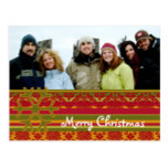 Red Green Damask Merry Christmas Postcard