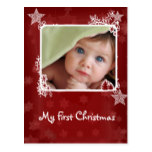 Red Star Snowflake First Christmas Photo Postcard