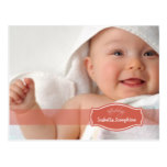 Simply Elegant (coral) Baby Birth Announcement Postcard