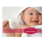 Simply Elegant (cranberry) Baby Birth Announcement Postcard