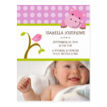 {TBA} Hippo & Birdie Baby Girl Birth Announcement Postcard