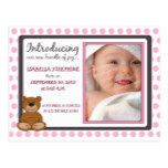 Teddy Bear Polkadot Baby Birth Announcement (pink) Postcard