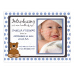 Teddy Bear Polkadot Birth Announcement: periwinkle Postcard