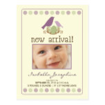 Tweet Tweet Baby Announcement Postcard (purple)
