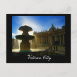 vatican city fountain postcard